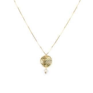 Collana pendente oro giallo girocollo donna in oro giallo tit 750 (18 kt), con pendente composto da un disco diamantato e una perla coltivata in acqua dolce
