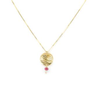 Collana pendente perla rubino, girocollo donna in oro giallo tit 750 (18 kt) pendente composto da un disco diamantato, perla coltivata e un rubino