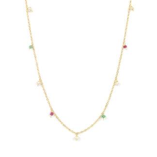 Collana lunga pietre colorate donna in oro giallo tit 750 (18 kt), con radice di smeraldo, radice di rubino e perle di 3 mm pendenti