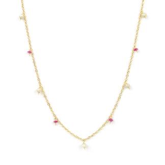 Collana colorata lunga rubini; collana donna lunga in oro giallo tit 750 (18 kt), con rubini e perle di 3 mm pendenti a ciondolino