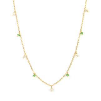 Collana lunga colorata con pietra tsavorite verde; collana donna in oro giallo tit 750 (18 kt), con tsavorite e perle di 3 mm pendenti