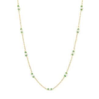 Collana lunga perle tsavorite, collana lunga donna in oro giallo tit 750 (18 kt), con pietra tsavorite alternata a perle di 3 mm