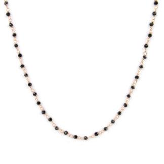 Collana spinello nero oro rosa; collana girocollo donna in oro rosè e bianco tit 750 (18 kt), con spinello nero di dimensione 2 mm