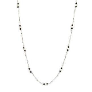 Collana lunga oro bianco; collana donna lunga in oro bianco tit 750 (18 kt), con spinello nero alternato a palline slash in oro
