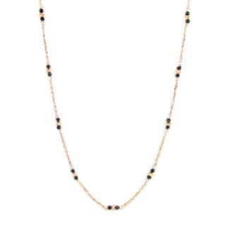 Collana lunga oro rosa, collana donna in oro rosè e bianco tit 750 (18 kt), con spinello nero alternato a palline slash in oro