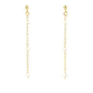 Orecchini pendenti in oro con tre perle; orecchini perno e farfallina pendenti in oro giallo tit 750 (18 kt) con perle di acqua dolce 6 mm