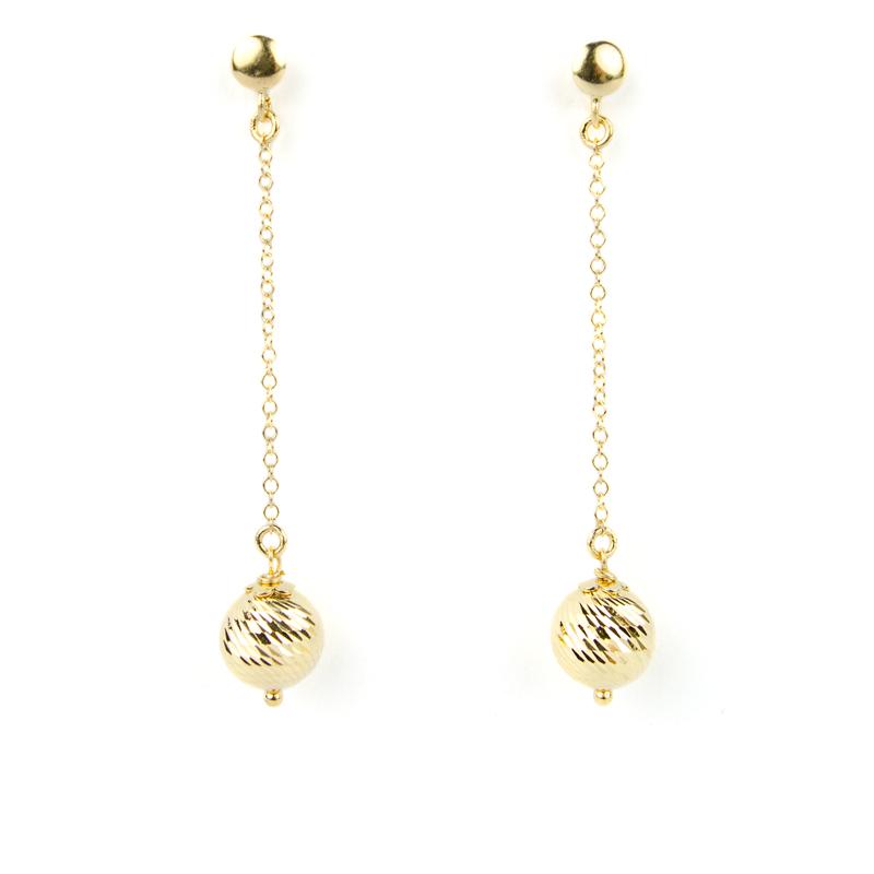 amazon stili di moda le migliori scarpe Orecchini pendenti con pallina finale in oro giallo - Sari Gold