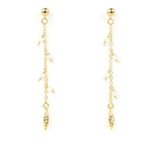 Orecchini perle pendenti; orecchini perno e farfallina pendenti in oro giallo tit 750 (18 kt) con perle acqua dolce e finale diamantato in oro giallo