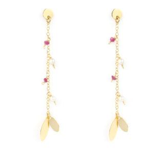 Orecchini pendenti donna perno e farfallina in oro giallo tit 750 (18 kt) con rubini e perle acqua dolce 3 mm, con finali lucidi