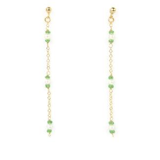 Orecchini pendenti tsavorite e perle; perno e farfallina pendenti in oro giallo tit 750 (18 kt) con tsavorite 2 mm alternata a perla di acqua dolce 3 mm