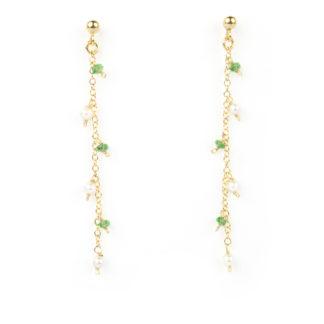 Orecchini tsavorite perle pendenti; orecchini perno e farfallina pendenti in oro giallo tit 750 (18 kt) con pietra tsavorite e perle acqua dolce