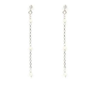 Orecchini pendenti oro bianco; orecchini perno e farfallina pendenti in oro bianco tit 750 (18 kt) con perle di acqua dolce 6 mm