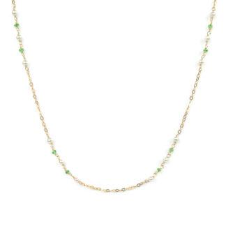 Collana pietra tsavorite perle, girocollo donna in oro giallo tit 750 (18 kt), con perle coltivate in acqua dolce e tsavorite