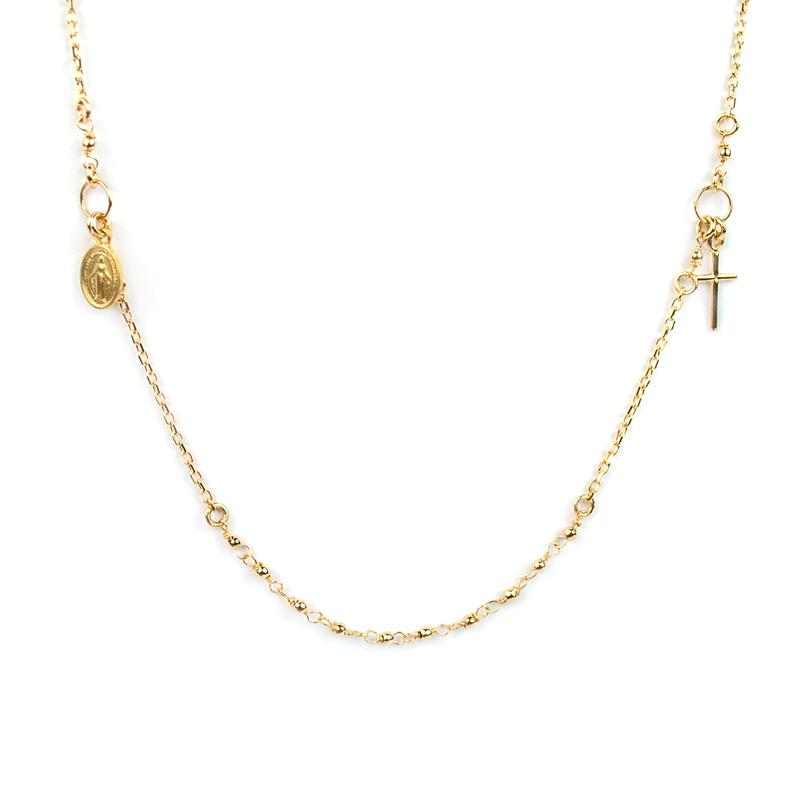 comprare on line f6f9c ee01f Collana girocollo rosario in oro giallo