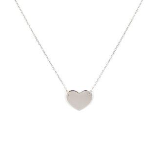 Collana cuore liscio; girocollo donna in oro bianco tit 750 (18 kt), con cuore liscio, a specchio di misura 15x11 mm; catena rolò ovale massiccia