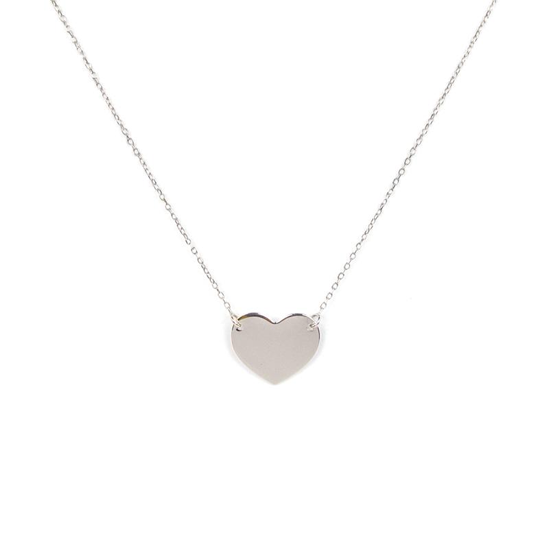 disponibile 3f8f3 ba719 Collana cuore liscio a specchio in oro bianco