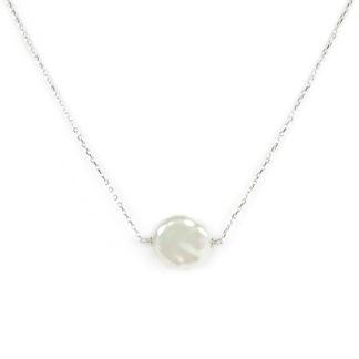 Collana oro perla coin girocollo in oro bianco tit 750 (18 kt), con una perla coin centrale di diametro 17 mm; perla tonda piatta e irregolare