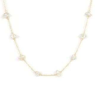 Collana perle irregolari oro giallo; collana girocollo donna in oro giallo tit 750 (18 kt), con perle irregolari di dimensione 6x8 mm