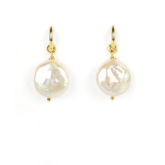 Orecchini cerchio donna perla, orecchini a cerchio in oro giallo tit 750 (18 kt) con perla coin diametro 17 mm rimovibile