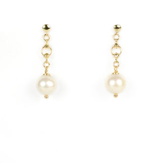 Orecchini donna pendenti perle, orecchini pendenti in oro giallo tit 750 (18 kt) con perla di acqua dolce dimensione 9 mm