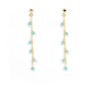 Orecchini con turchese; orecchini pendenti colorati, perno e farfallina in oro giallo tit 750 (18 kt) con turchese ricostruito 2 mm