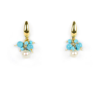 Orecchini perla e turchese, orecchini monachella pendenti in oro giallo tit 750 (18 kt) con perla 5,5 mm e turchese di 4 mm e 2 mm