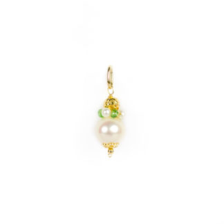 Ciondolo donna perla in oro giallo tit 750 (18 kt) con perla di acqua dolce, corona di perle e tsavorite,sfera in oro giallo lavorazione diamantata