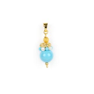 Ciondolo turchese perle donna oro giallo tit 750 (18 kt) con sfera di turchese, corona di turchese e perle,elemento traforato e sfera in oro giallo