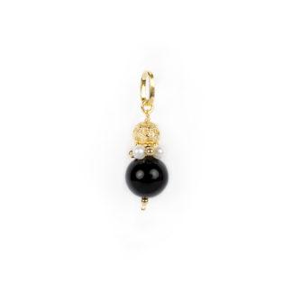 Ciondolo onice perle donna in oro giallo tit 750 (18 kt) con onice, corona di perle e palline in oro giallo, sfera in oro traforata