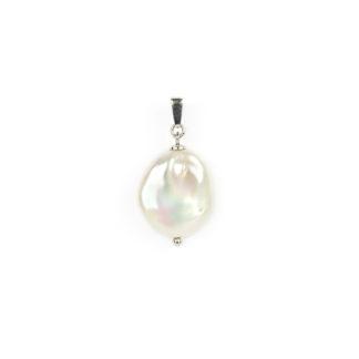 Ciondolo donna perla coin in oro bianco tit 750 (18 kt) con perla coin 1,7 x 2 cm, piatta, tonda e leggermente irregolare