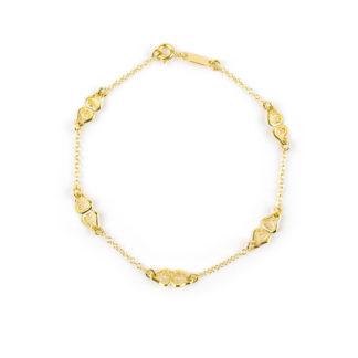 Bracciale filigrana a rombo donna e bambina in oro giallo 750, con elementi in filigrana a rombo alternati da catena rolò tonda massiccia