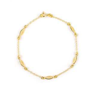 Bracciale filigrana oro giallo donna e bambina in oro giallo 750 con elementi in filigrana alternati da catena rolò tonda massiccia