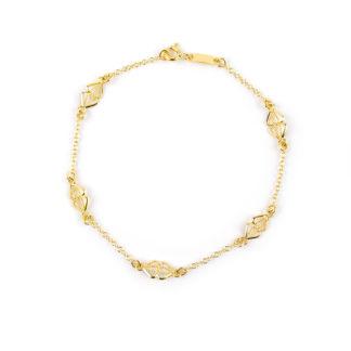 Bracciale oro giallo filigrana donna e bambina in oro giallo 750, con elementi in filigrana a rombo alternati da catena rolò tonda massiccia