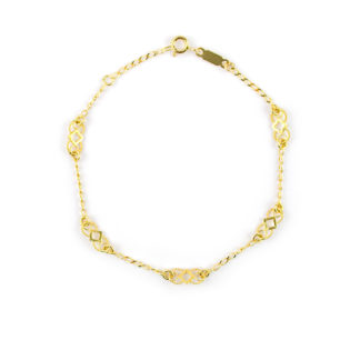 Bracciale filigrana oro giallo donna e bambina in oro giallo 750, con elementi in filigrana alternati da catena rada piatta massiccia