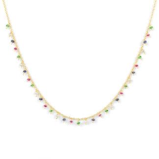 Collana donna pietre colorate, girocollo in oro giallo tit 750 (18 kt), con centrale di pietre colorate pendenti: perle, rubino, tsavorite e radice zaffiro