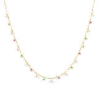 Collana perle rubino tsavorite, girocollo donna in oro giallo tit 750 (18 kt), con centrale di pietre colorate pendenti: perle, rubino e tsavorite