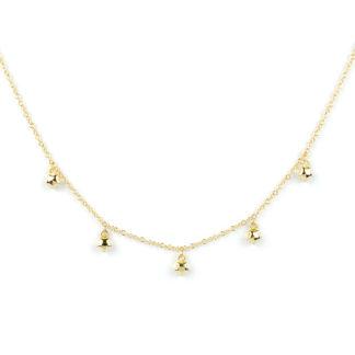 Collana stelle oro giallo, girocollo donna in oro giallo tit 750 (18 kt), con cinque stelline di 4 mm, bombate e lucide