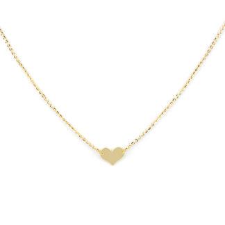 Collana cuore oro giallo girocollo donna in oro giallo tit 750 (18 kt), con cuore centrale di dimensione 6 x 8 mm, catena rolò ovale massiccia