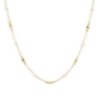 Collana stelle perle donna girocollo in oro giallo tit 750 (18 kt), con centrale di perle 4 mm alternate a stelline di 4 mm bombate e lucide