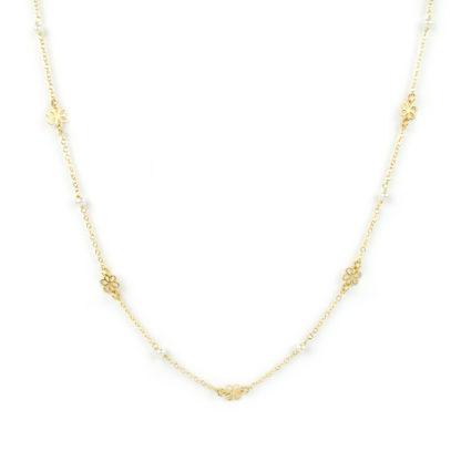 Collana fiori perle oro, girocollo donna in oro giallo tit 750 (18 kt), con centrale di perle 3 mm alternate a fiori di 6 mm , catena rolò tonda massiccia