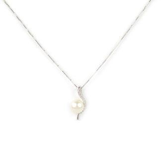Collana ciondolo perla, veneziana girocollo oro bianco tit 750 (18 kt)ciondolo rimovibile composto da una perla coltivata acqua dolce 6-6,5 mm e zirconi