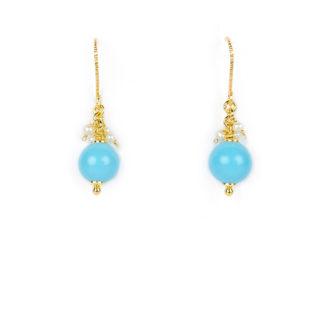 Orecchini turchese perle amo in oro giallo tit 750 (18 kt) pendenti con turchese ricostruito di 9 mm e perlecoltivate in acqua dolce