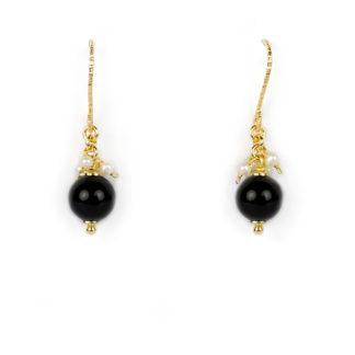 Orecchini onice perle pendenti amo in oro giallo tit 750 (18 kt) pendenti con onice di 8 mm e perlecoltivate in acqua dolce