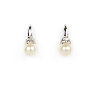Orecchini monachella perle zirconi in oro bianco tit 750 (18 kt), perla coltivata in acqua dolce di 7/7,5 mm su montatura con zirconi
