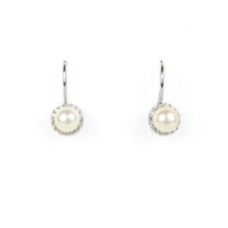 Orecchini monachella perla donna in oro bianco tit 750 (18 kt) con perla coltivata in acqua dolce di 6 mm su montatura con zirconi