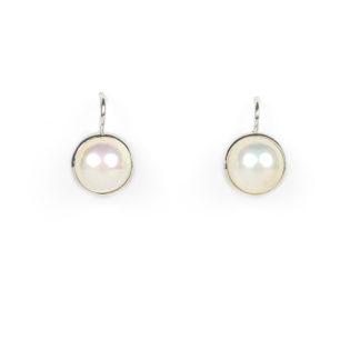 Orecchini monachella perle mabè in oro bianco tit 750 (18 kt) con perla mabè di 10,5 mm e diametro esterno 12 mm