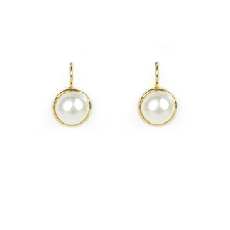 Orecchini perla mabè monachella in oro giallo tit 750 (18 kt) con perla mabè di 9 mm, diametro esterno 11 mm