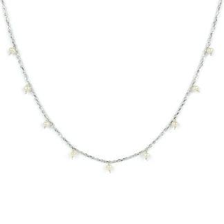Collana perle pendenti oro, girocollo donna in oro bianco tit 750 (18 kt), con centrale di perle cipolline di 3,5 mm pendenti