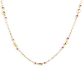 Collana girocollo lineare rubini, collana donna in oro giallo tit 750 (18 kt), con rubini alternati ad elementi in oro giallo