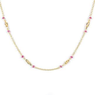 Collana lineare rubini oro, girocollo donna in oro giallo tit 750 (18 kt), con rubini di 2 mm alternati ad un elemento in oro giallo